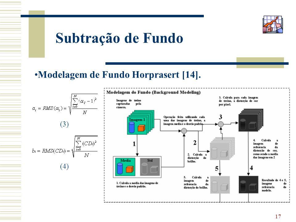 Subtração de Fundo Modelagem de Fundo Horprasert [14]. (3) (4)